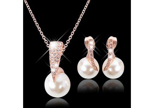 Rosékleurige Sieraden Set Pearl (Ketting & Oorbellen)