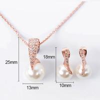 thumb-Rosékleurige Sieraden Set Pearl (Ketting & Oorbellen)-3
