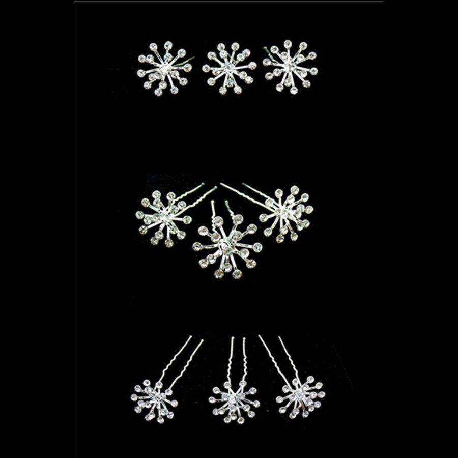 Zilverkleurige Hairpins met Fonkelende Kristallen - 2 Stuks-3