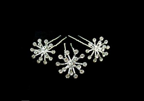 Zilverkleurige Hairpins met Fonkelende Kristallen - 2 Stuks