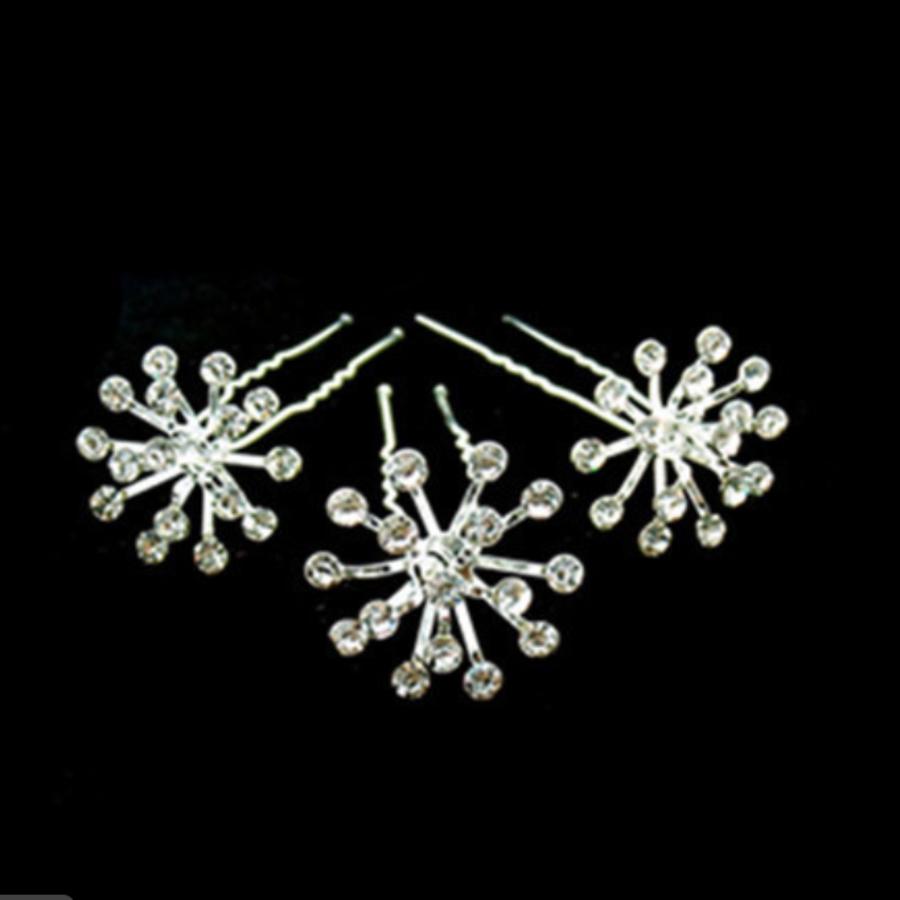 Zilverkleurige Hairpins met Fonkelende Kristallen - 2 Stuks-1