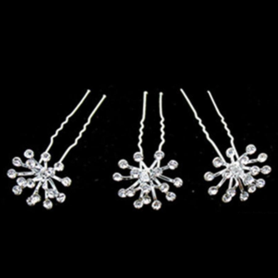 Zilverkleurige Hairpins met Fonkelende Kristallen - 2 Stuks-4