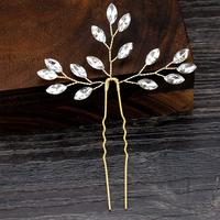 thumb-Goudkleurige Hairpins met Diamanten - 2 Stuks-2
