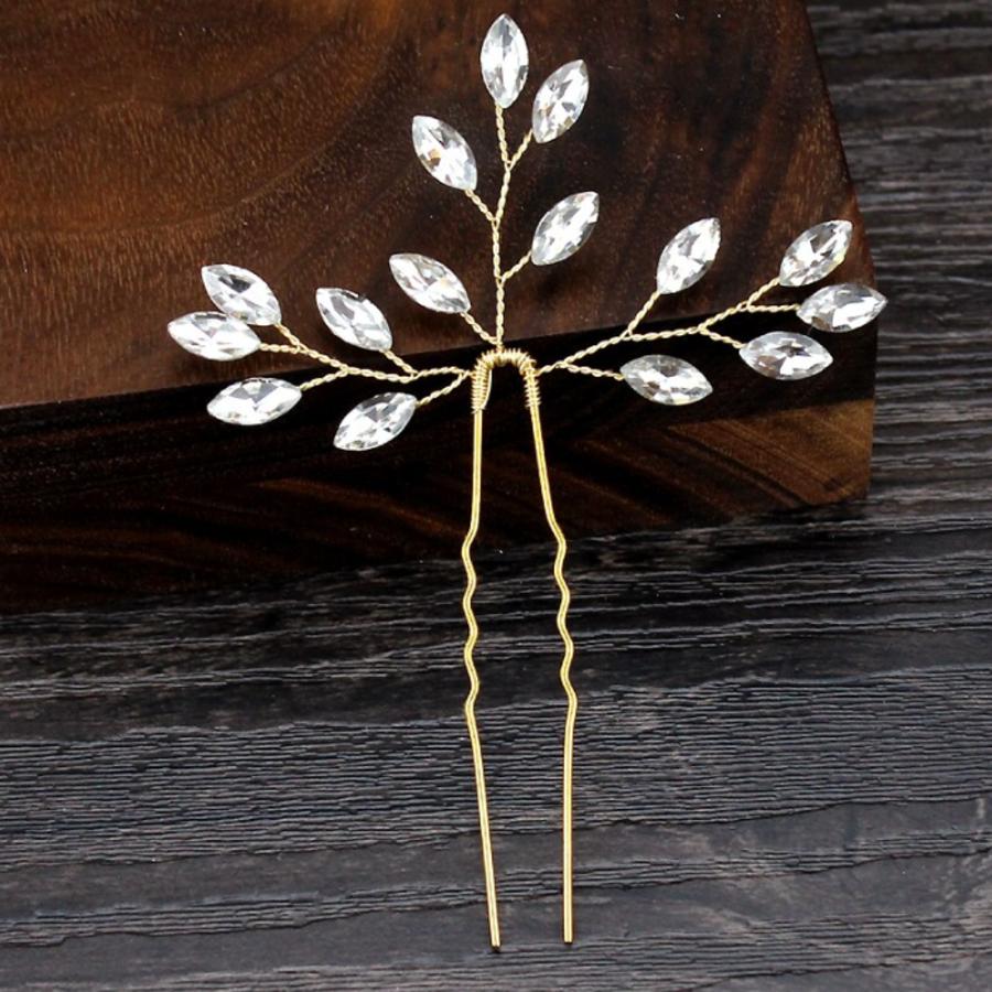 Goudkleurige Hairpins met Diamanten - 2 Stuks-2