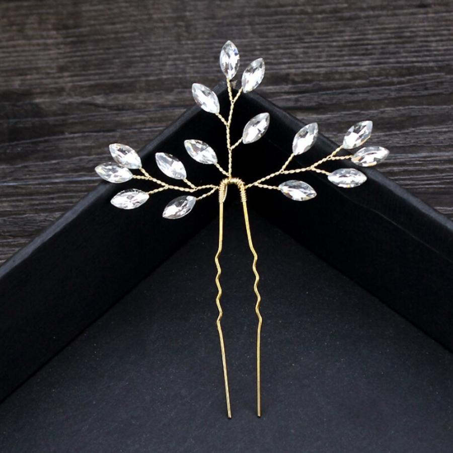 PaCaZa - Goudkleurige Hairpins met Diamanten - 2 Stuks-3