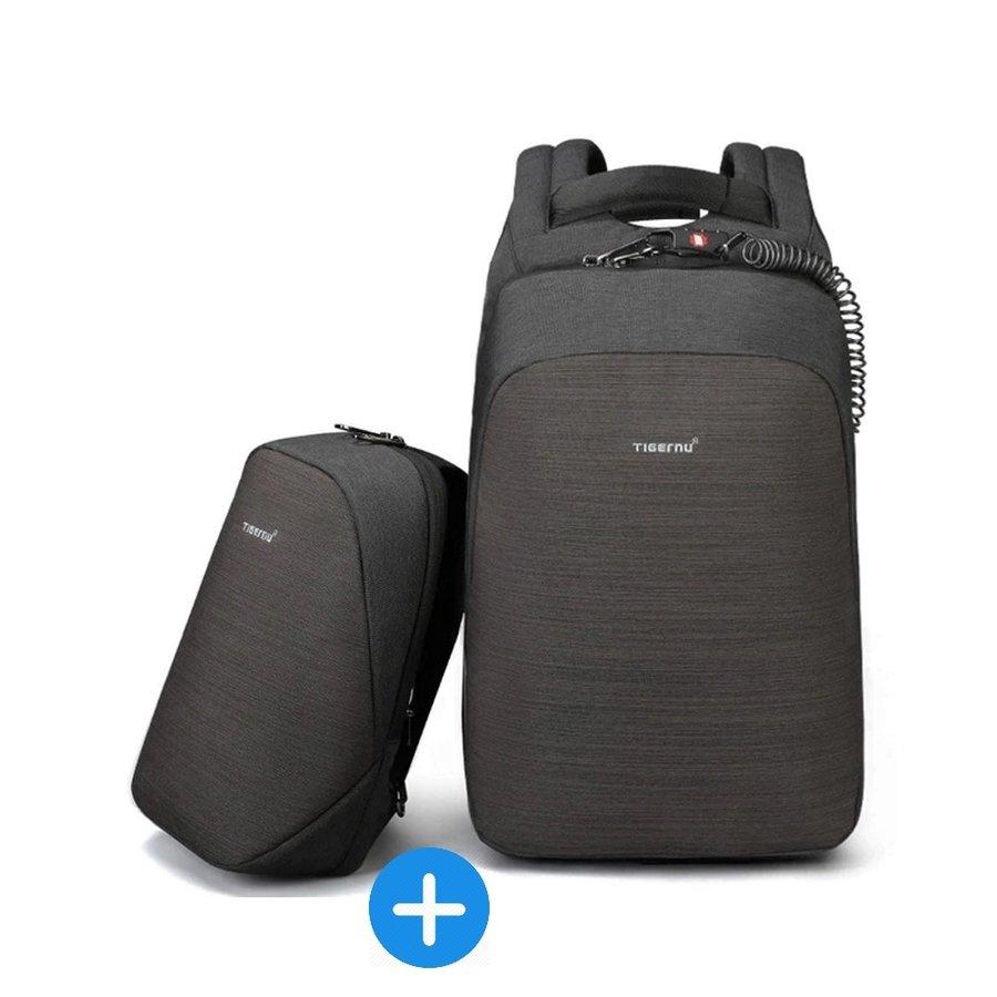 Anti-Diefstal Laptop rugzak 15, inch + Crossbodytas Black/Grey-1