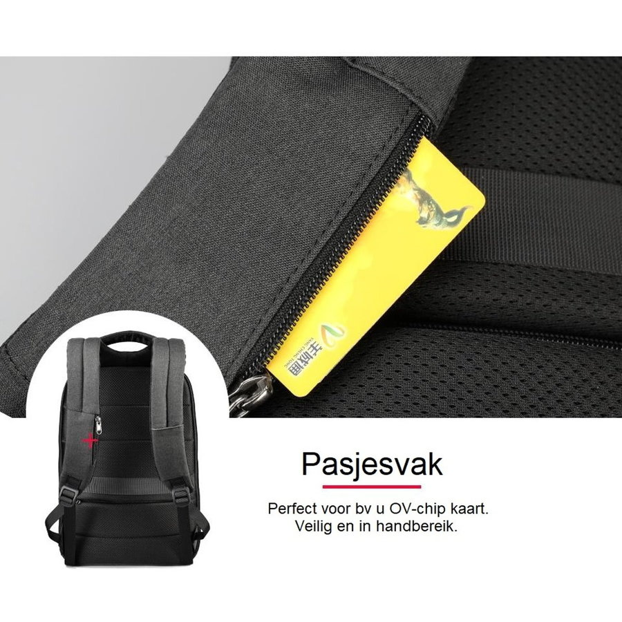 LockIT - laptop rugzak - anti diefstal - 12,5 tot 15,6 Inch - zwart grijs-8