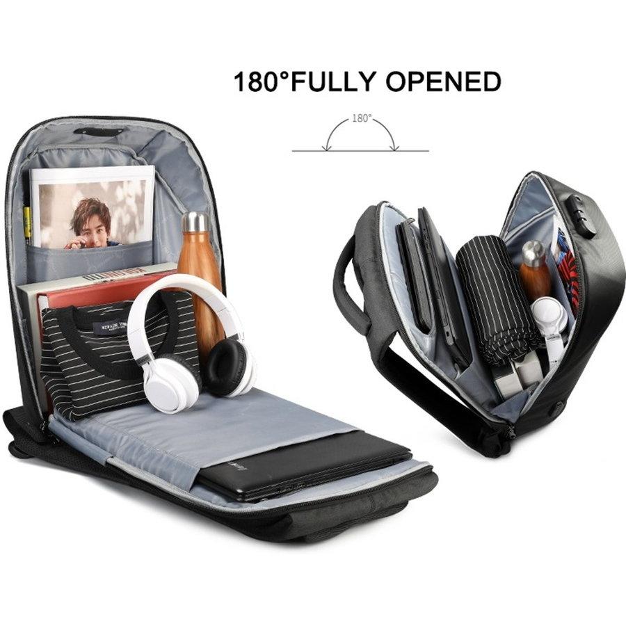 LockIT - laptop rugzak - anti diefstal - 12,5 tot 15,6 Inch - zwart grijs-10