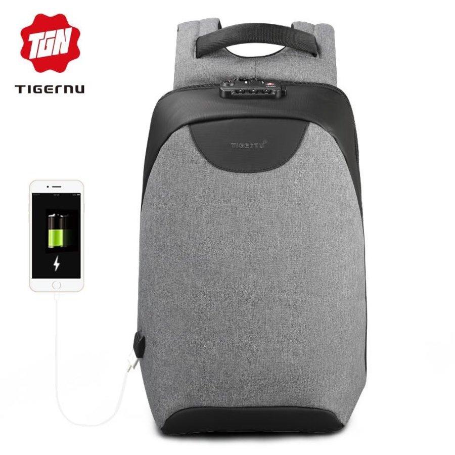 Tigernu - LockIT - laptop rugzak - anti diefstal - 12,5 tot 15,6 Inch - grijs-1