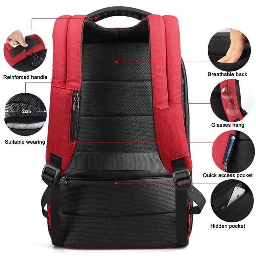 LockIT - laptop rugzak - anti diefstal - 12,5 tot 15,6 Inch - rood-3