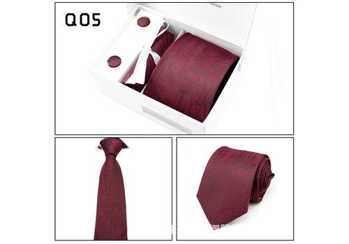 Elegante Stropdas Set in Geschenkdoos - inclusief Manchetknopen, Pochet en Dasspeld - Q05 - Rood