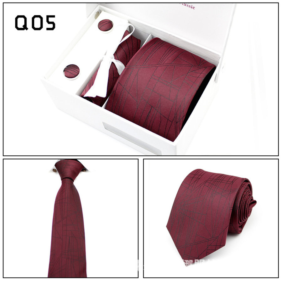 Elegante Stropdas Set in Geschenkdoos - inclusief Manchetknopen, Pochet en Dasspeld - Q05 - Rood-1