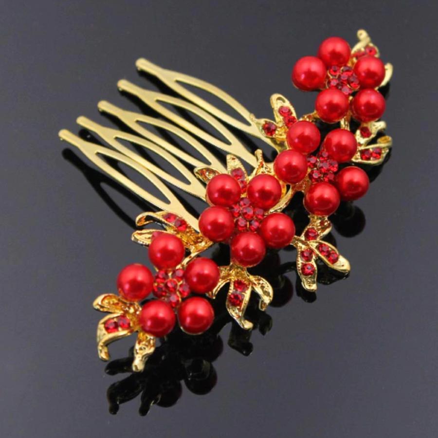 Haarkam Goudkleurig met Rode Bloemen en Rode Parels-2