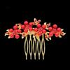 PaCaZa Haarkam Goudkleurig met Rode Bloemen en Rode Parels