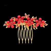 thumb-Haarkam Goudkleurig met Rode Bloemen en Rode Parels-1