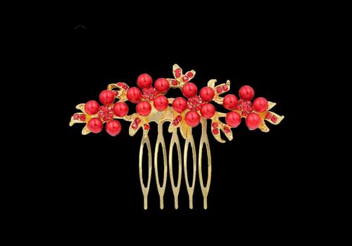 Haarkam Goudkleurig met Rode Bloemen en Rode Parels