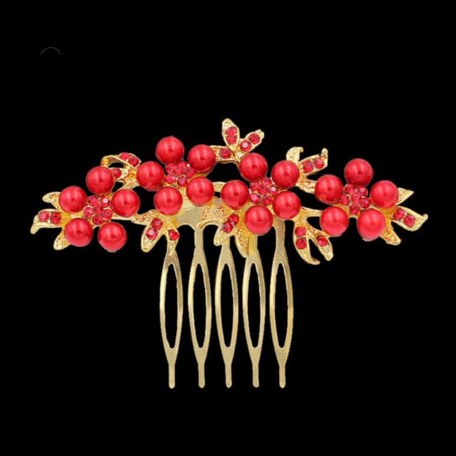 Haarkam Goudkleurig met Rode Bloemen en Rode Parels-1
