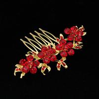 thumb-Haarkam Goudkleurig met Fonkelende Rode Bloemen-2