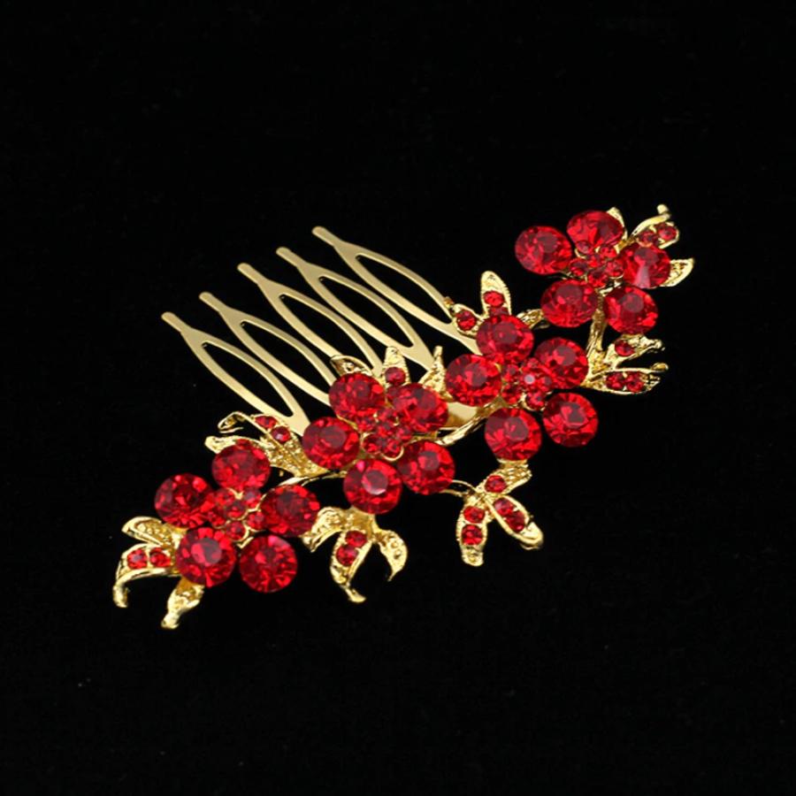 Haarkam Goudkleurig met Fonkelende Rode Bloemen-2