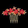 PaCaZa Haarkam Goudkleurig met Fonkelende Rode Bloemen