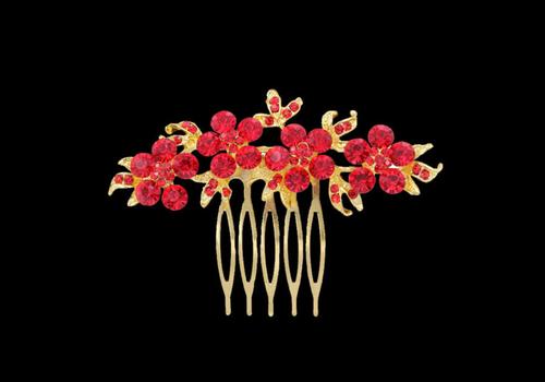 Haarkam Goudkleurig met Fonkelende Rode Bloemen
