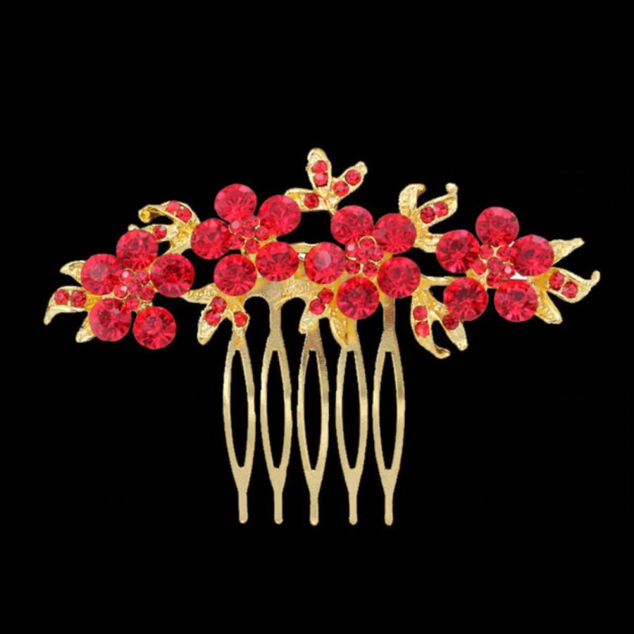 Haarkam Goudkleurig met Fonkelende Rode Bloemen-1