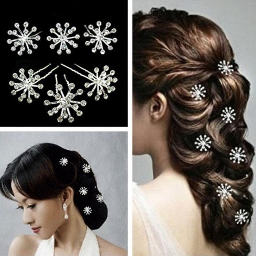 Zilverkleurige Hairpins met Fonkelende Kristallen - 2 Stuks-2