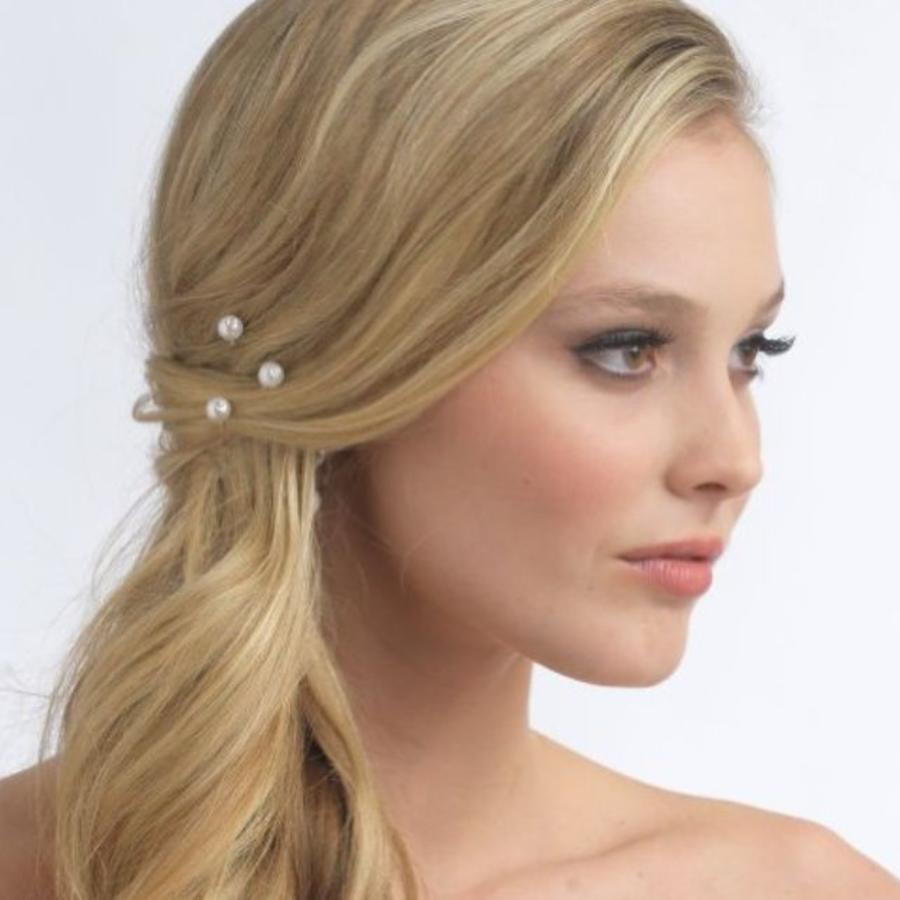 Hairpins – Pareltje Ivoor met 'Diamantje' - 5 stuks-1