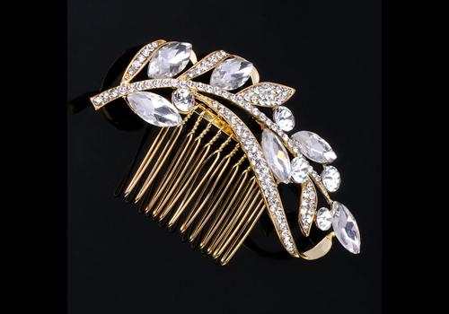 Goudkleurige Moderne Haarkam bezet met Kristallen