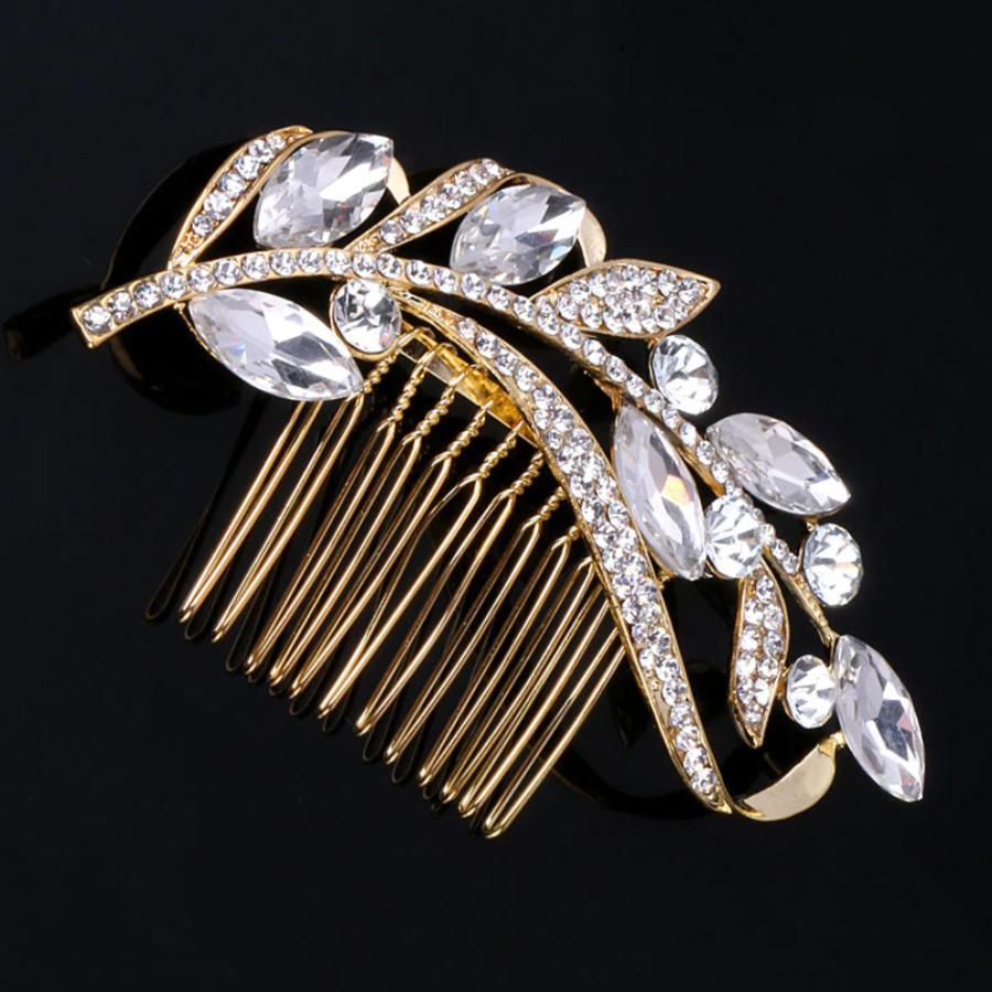 Goudkleurige Moderne Haarkam bezet met Kristallen-1