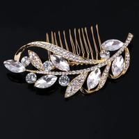 thumb-Goudkleurige Moderne Haarkam bezet met Kristallen-2