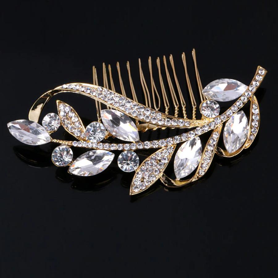 Goudkleurige Moderne Haarkam bezet met Kristallen-2