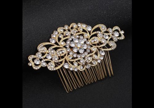 Goudkleurige Haarkam Flower bezet met fonkelende Kristallen