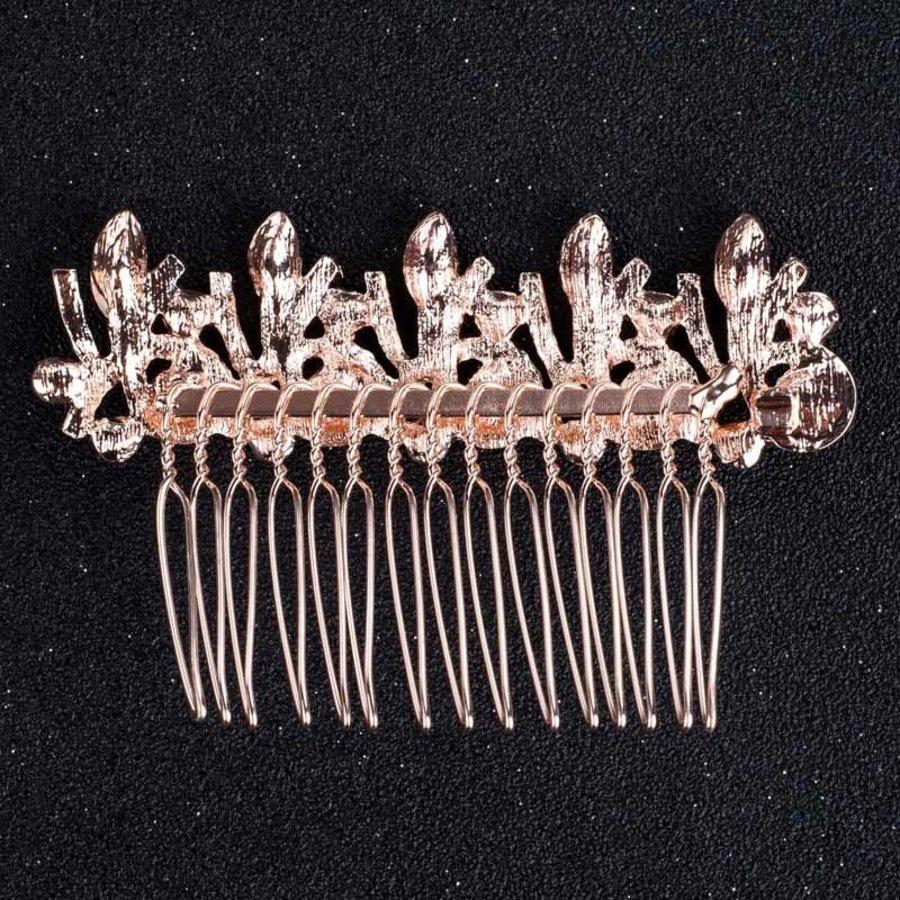 Elegante Rosékleurige Haarkam met Diamanten-2