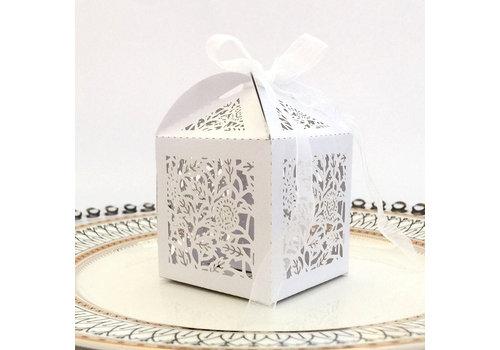 Geschenk doosjes / Cadeau doosjes - 50 stuks - Flower -  Wit