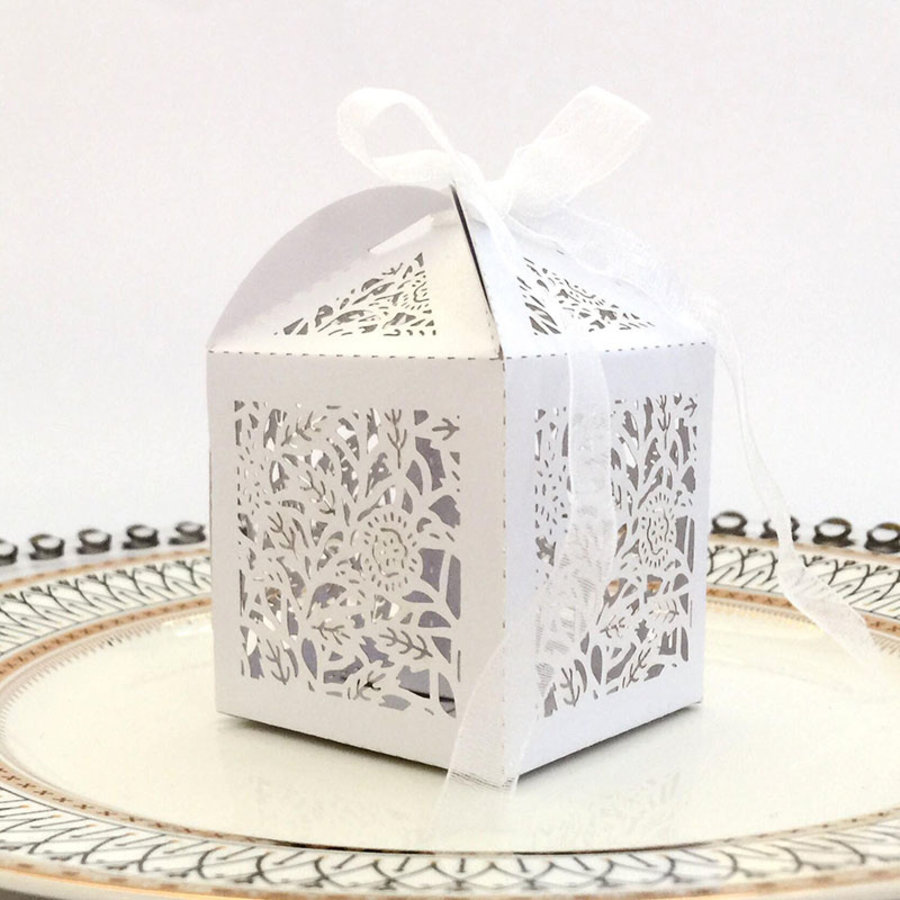 Geschenk doosjes / Cadeau doosjes - 50 stuks - Flower -  Wit-1