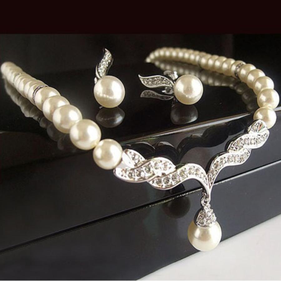 Zilverkleurige Sieraden Set Pearls (Ketting & Oorbellen)-2