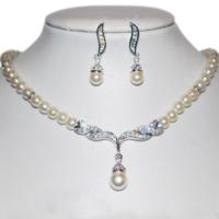 thumb-Zilverkleurige Sieraden Set Pearls (Ketting & Oorbellen)-3