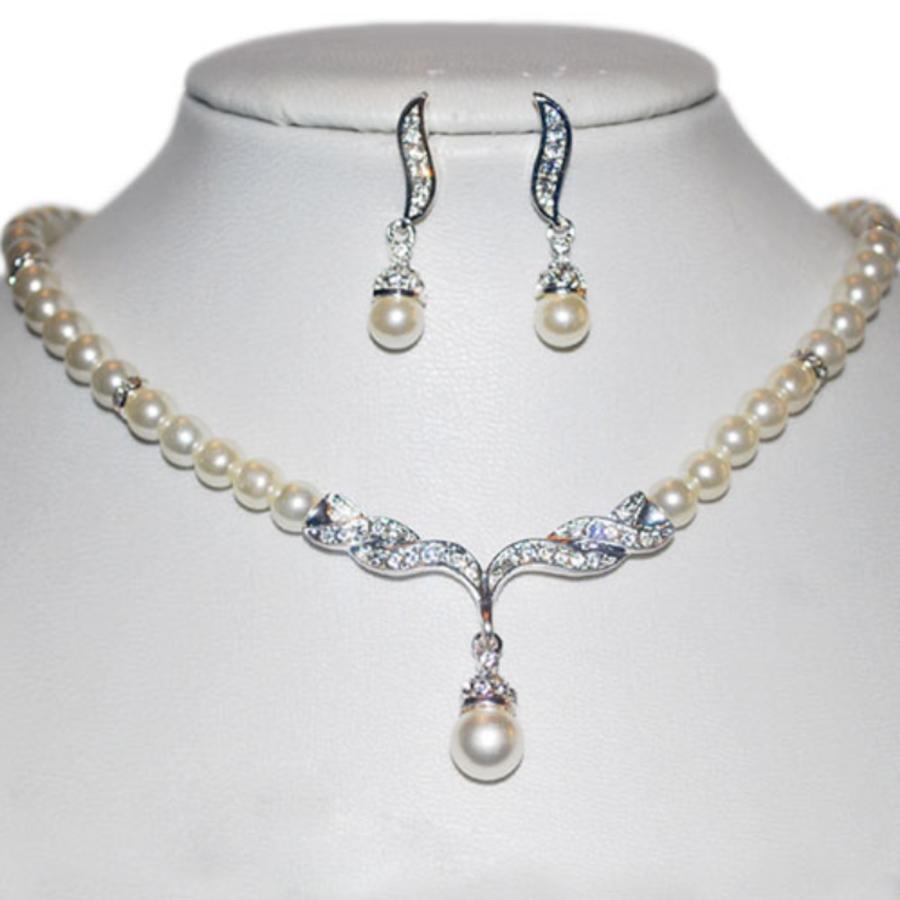 Zilverkleurige Sieraden Set Pearls (Ketting & Oorbellen)-3