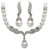 PaCaZa Zilverkleurige Sieraden Set Pearls (Ketting & Oorbellen)
