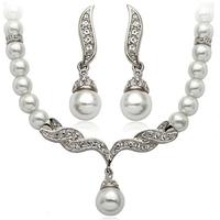 thumb-Zilverkleurige Sieraden Set Pearls (Ketting & Oorbellen)-1