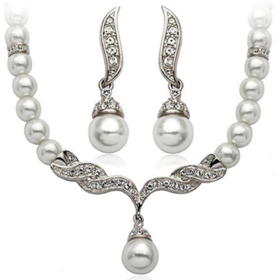Zilverkleurige Sieraden Set Pearls (Ketting & Oorbellen)-1