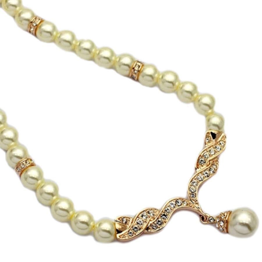 Goudkleurige Sieraden Set Pearls (Ketting & Oorbellen)-2