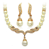 PaCaZa Goudkleurige Sieraden Set Pearls (Ketting & Oorbellen)