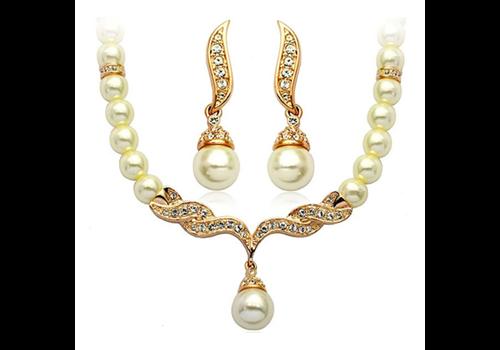 Goudkleurige Sieraden Set Pearls (Ketting & Oorbellen)