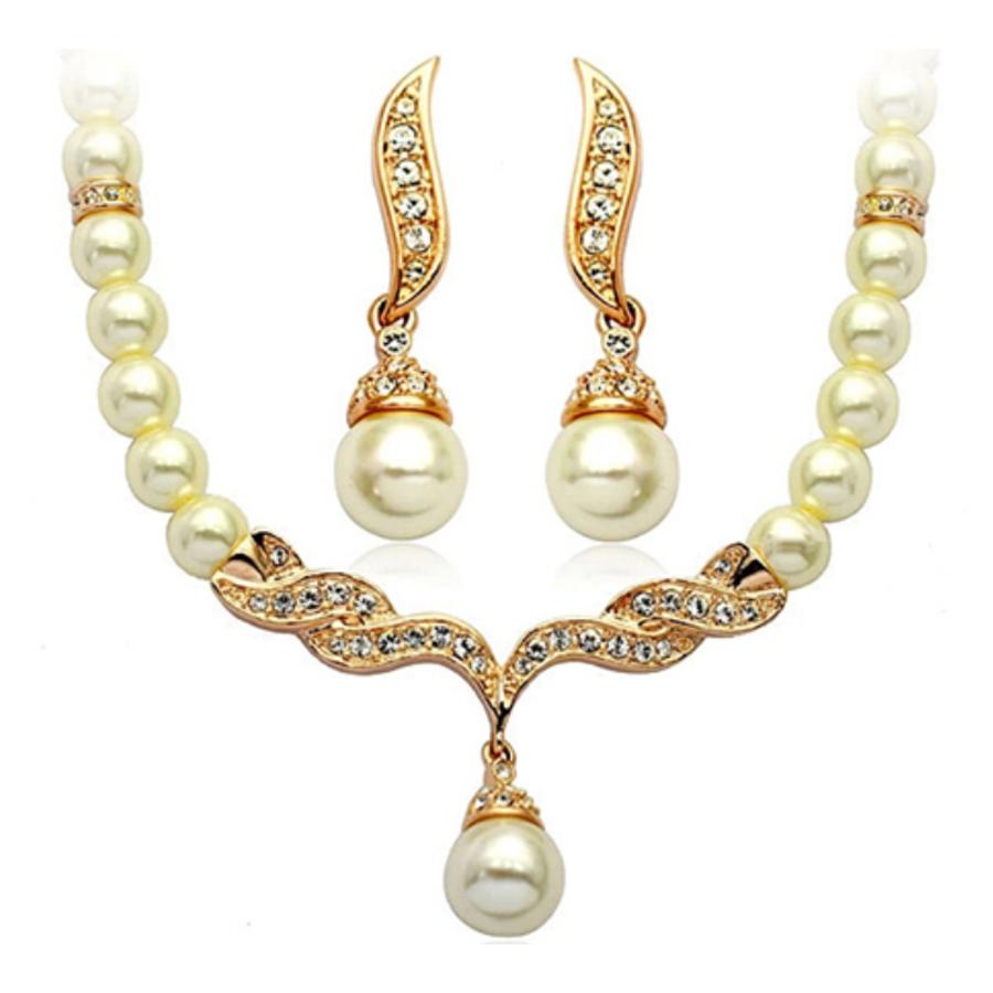 PaCaZa - Goudkleurige Sieraden Set Pearls (Ketting & Oorbellen)-1