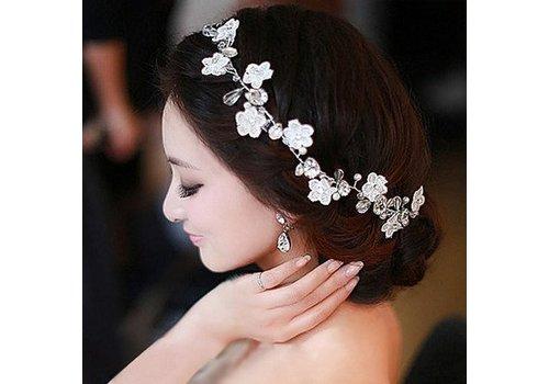 Bloemetjes haarband met Diamantjes en Pareltjes