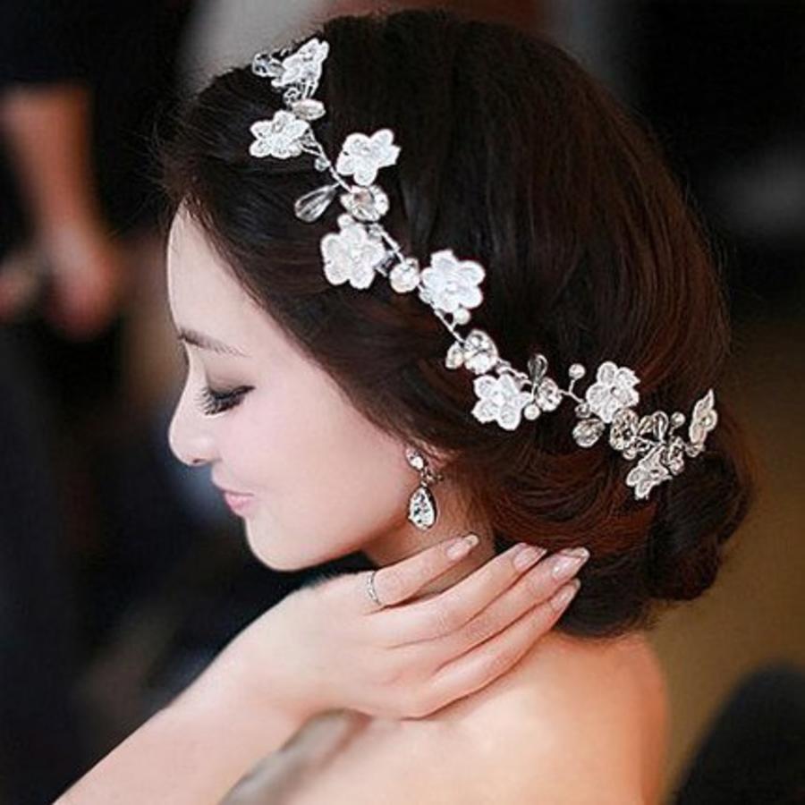 Bloemetjes haarband met Diamantjes en Pareltjes-2
