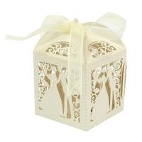 thumb-PaCaZa - Geschenk doosjes / Cadeau doosjes - 100 stuks - Bruidspaar - Beige / Crème-1
