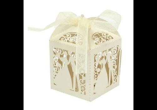 Geschenk doosjes / Cadeau doosjes - 100 stuks - Bruidspaar -  Beige / Crème